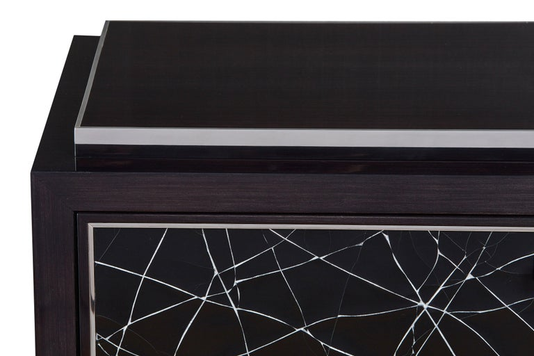 Hand-Crafted Modern Cabinet in Stained Oak Veneer with Black Artisan Panels For Sale
