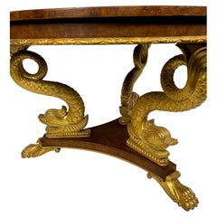 Smith and Watson Center Table with Gold Gilt Decorated Dolphin Base