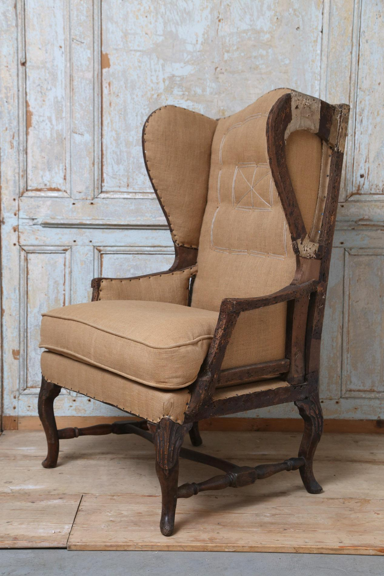 Early 19thc French Deconstructed High Wing Back Chair