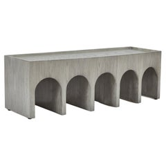 Minimalist Arched Upholstered Bench in Italian Gray Oak by Martin and Brockett