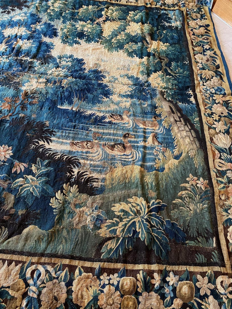Antique Square 17th Century Flemish Verdure Landscape Tapestry with Birds In Good Condition For Sale In New York, NY