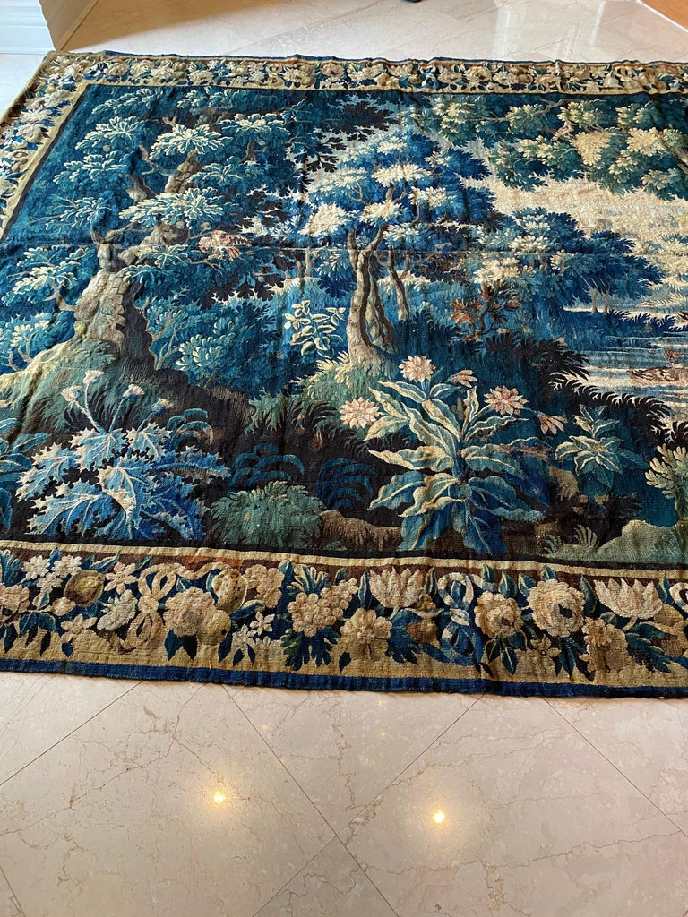 18th Century and Earlier Antique Square 17th Century Flemish Verdure Landscape Tapestry with Birds For Sale