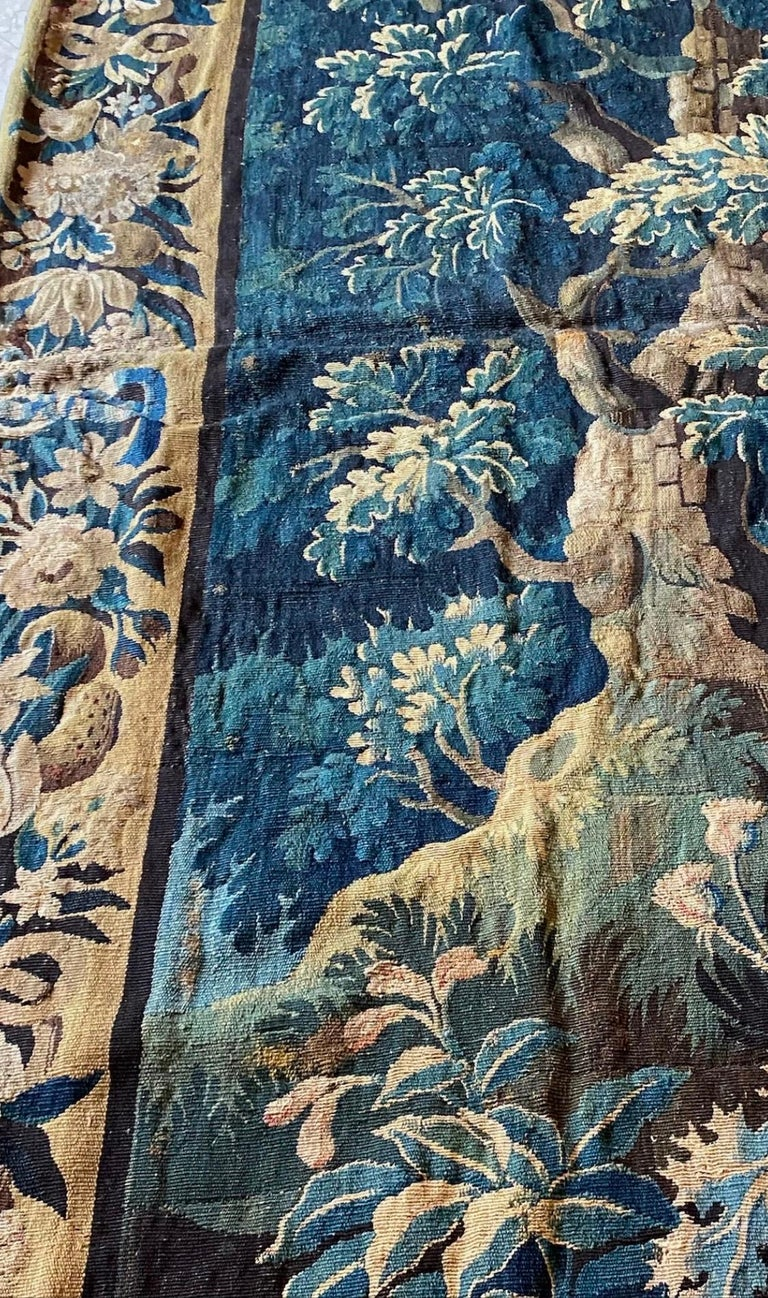 Antique Square 17th Century Flemish Verdure Landscape Tapestry with Birds For Sale 1
