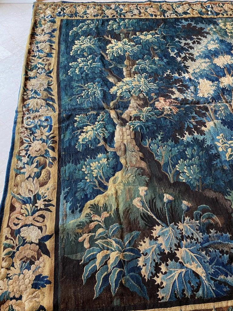 Antique Square 17th Century Flemish Verdure Landscape Tapestry with Birds For Sale 2