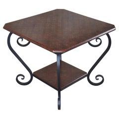 Brunschwig & Fils Vintage French Regency Scrolled Iron & Wood Side Accent Table