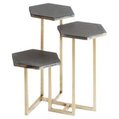 21st Century Petit Table de Milàn Side Table with Brass Base and Black Tiles