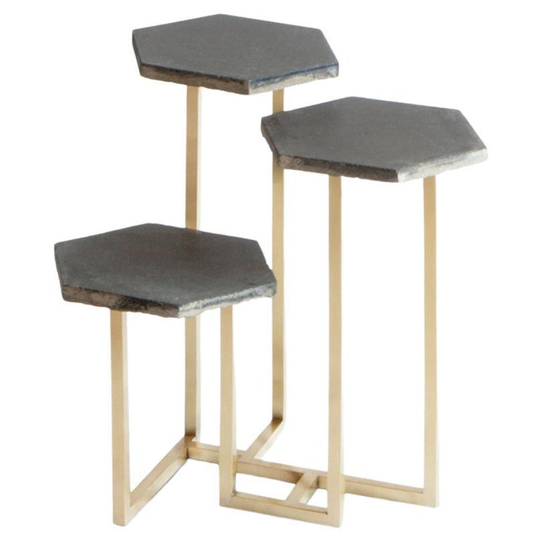 21st Century Petit Table de Milàn Side Table with Brass Base and Black Tiles For Sale