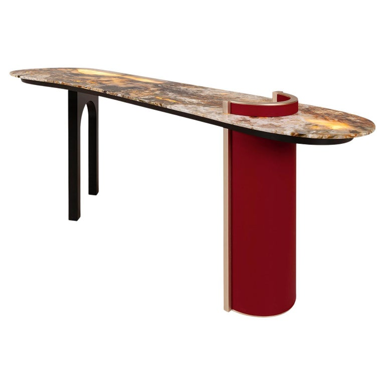 Chiado Console Backlit Patagonia Granite Red Leather Champagne Black Lacquered For Sale