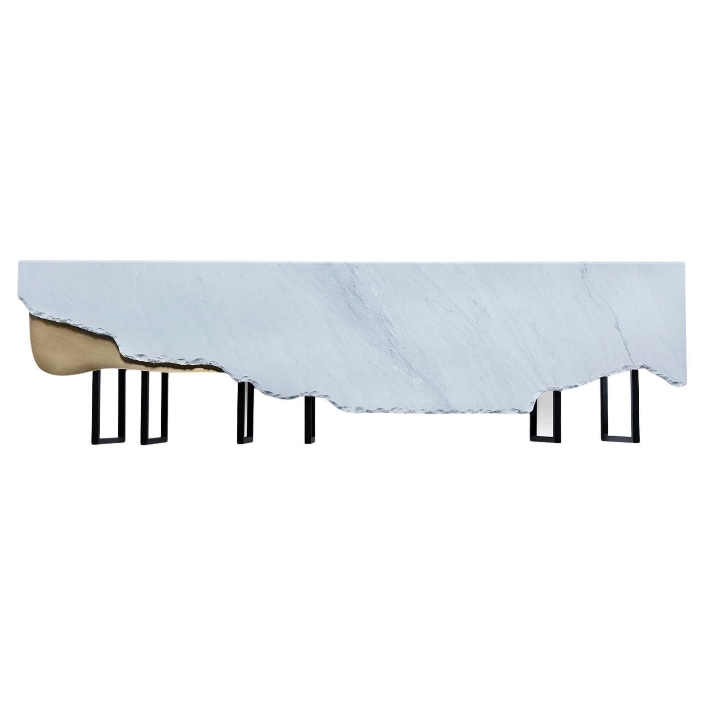 Aire Coffee Table XL Bardiglio Marble Matt Finish Oxidized Brass Black Lacquered