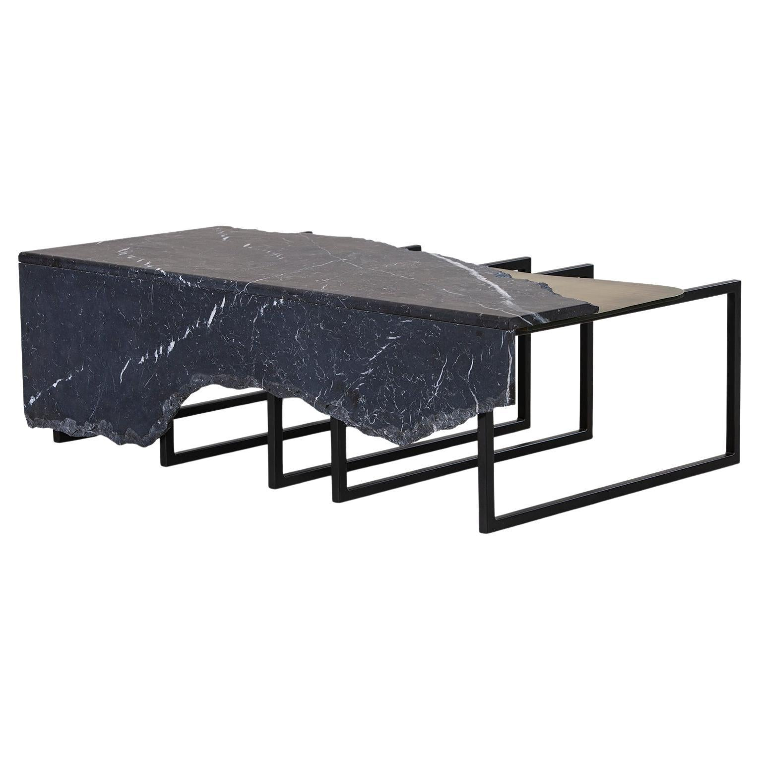 Aire Coffee Table M Nero Marquina Marble Dark Oxidised Brass Black Lacquered