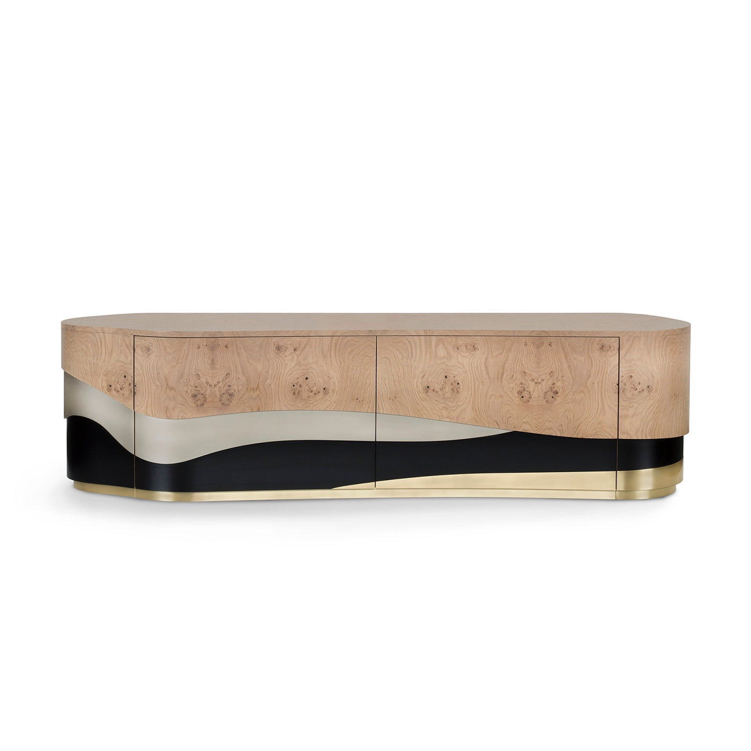 Sistelo TV Unit Oak Root Brushed Brass Black and Champagne Lacquered