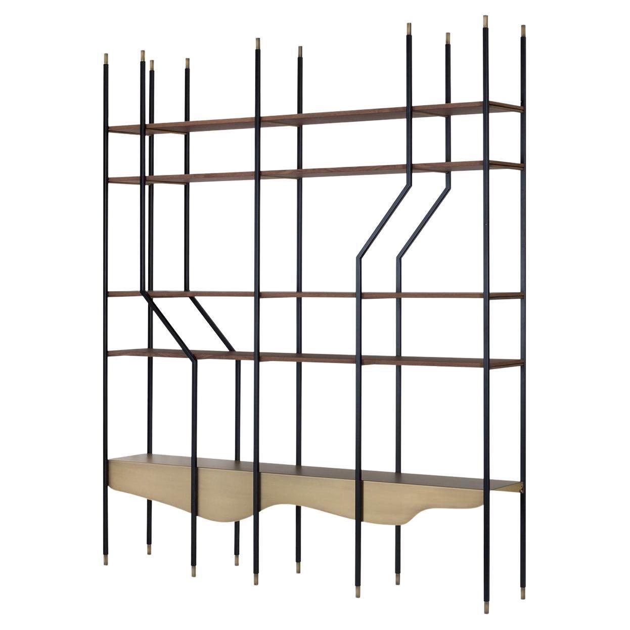 Lage Bookcase Matt Walnut Veneer Dark Oxidized Brass Metal Black Lacquered