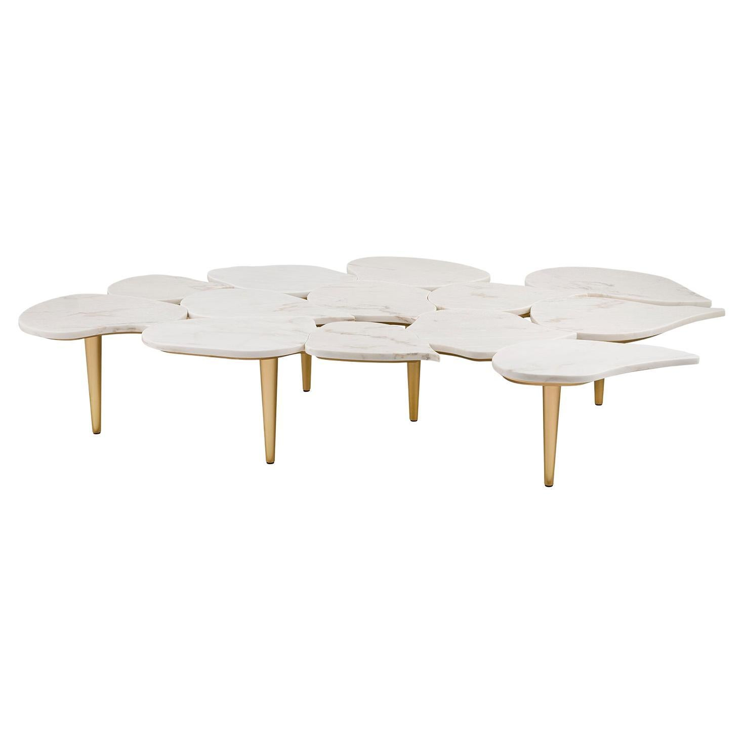 Infinity Coffee Table Large Calacatta Bianco Bronze Powder Gold Lacquered