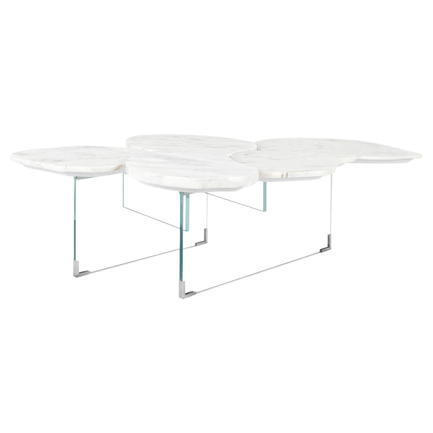 Infinity Coffee Table Medium Calacatta Bianco Marble Clear Glass Base Steel