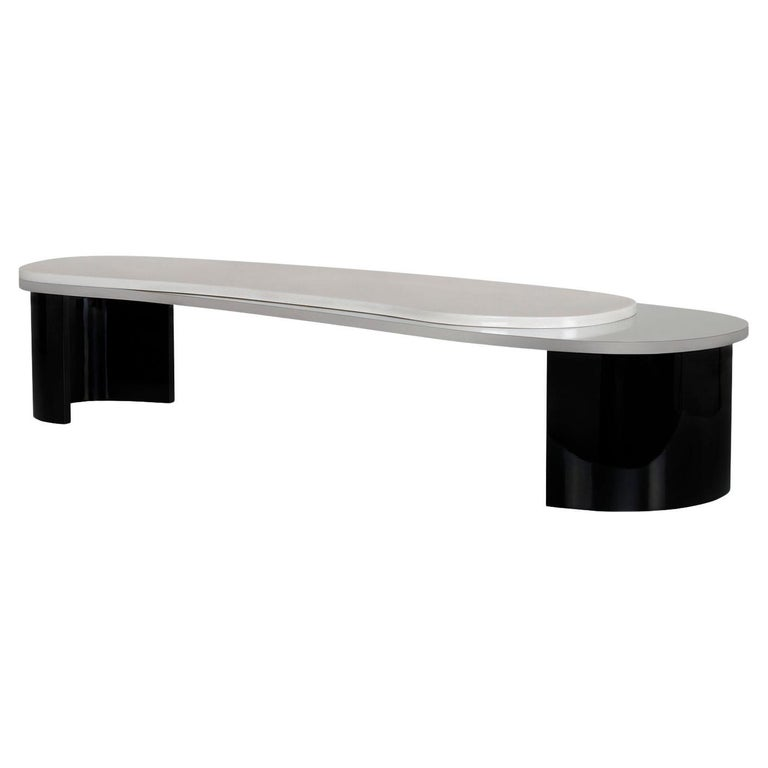 Armona Coffee Table Black Lacquered Calacatta Bianco Polished Stainless Steel For Sale