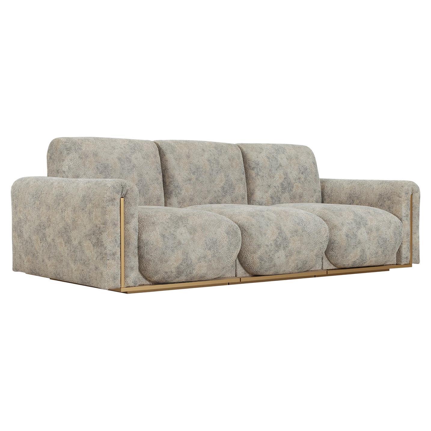 Beijinho 3-Seat Sofa Beige Jacquard-Patterned Velvet Gold Leather