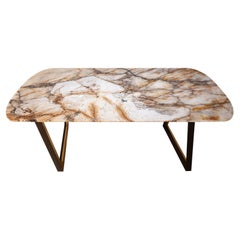 Olisippo 6-Seat Dining Table Patagonia Granite Dark Brown Beech Polished Brass