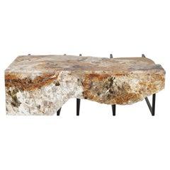 Aire Coffee Table M Patagonia Granite Dark Oxidized Brass Black Lacquered