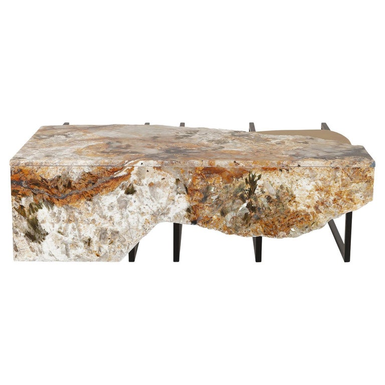 Aire Coffee Table M Patagonia Granite Dark Oxidized Brass Black Lacquered For Sale