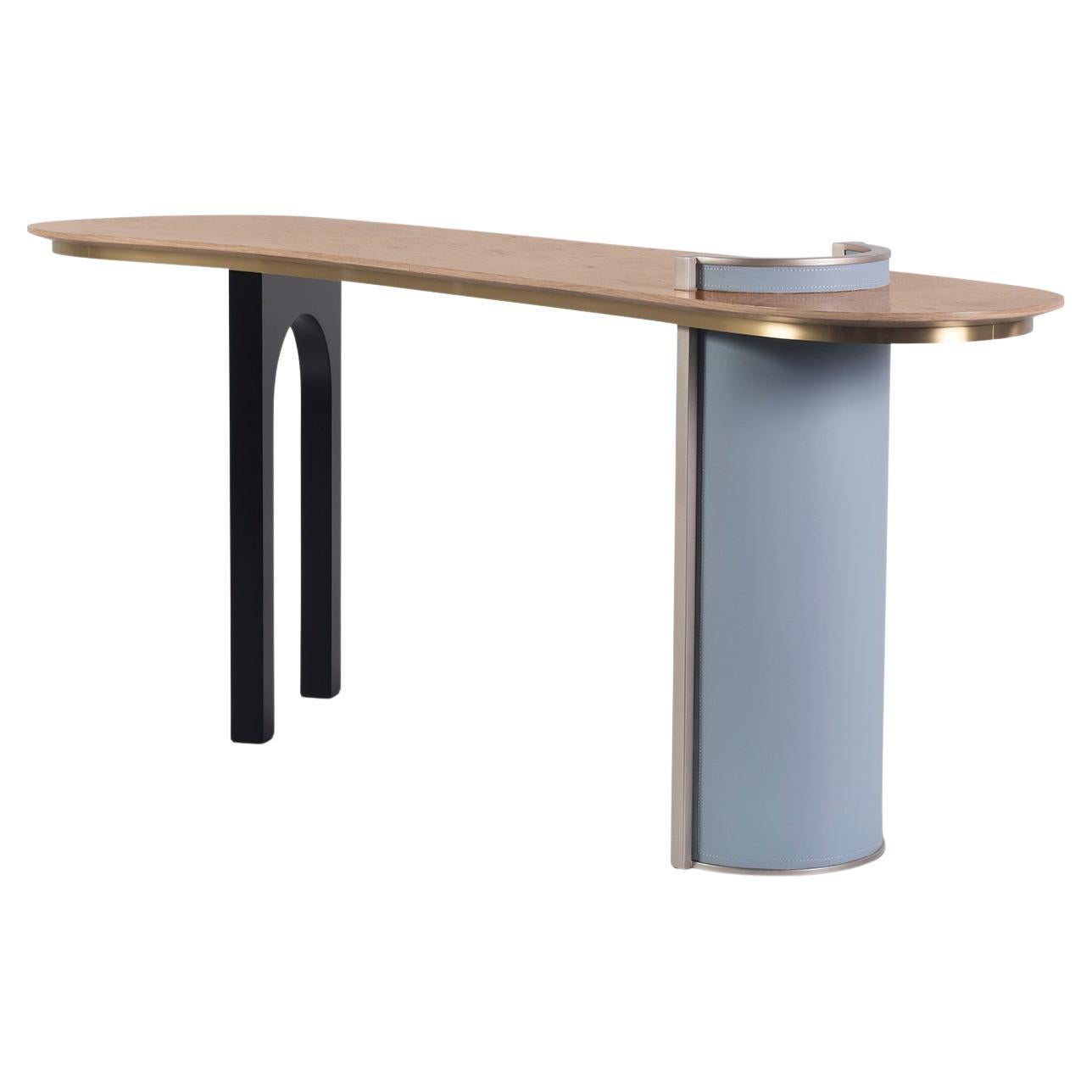 Chiado Console Blue Leather Champagne Black Lacquered Brushed Brass Oak Root Top