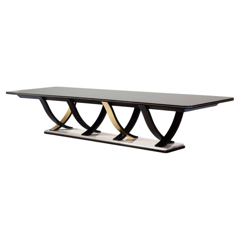 Fontaine 12-Seat Extendable Dining Table Macassar Ebony Brass Calacatta Bianco For Sale