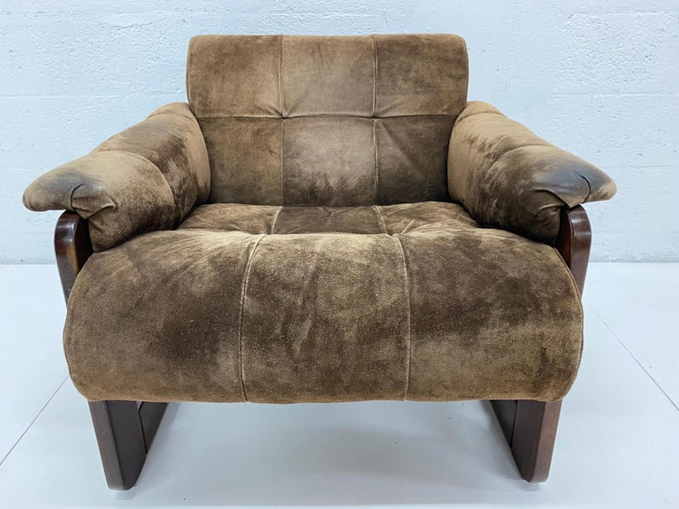 Percival Lafer Midcentury Brazilian Brown Suede and Rosewood Lounge Chair For Sale 7