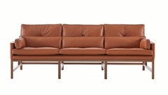 Wood Frame Low Back Sofa in Walnut and Leather Designed by Craig Bassam