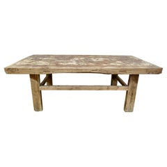 """Vintage Asian Elm Coffee Table/Bench, Rustic, """"One-of-a-Kind"""""""