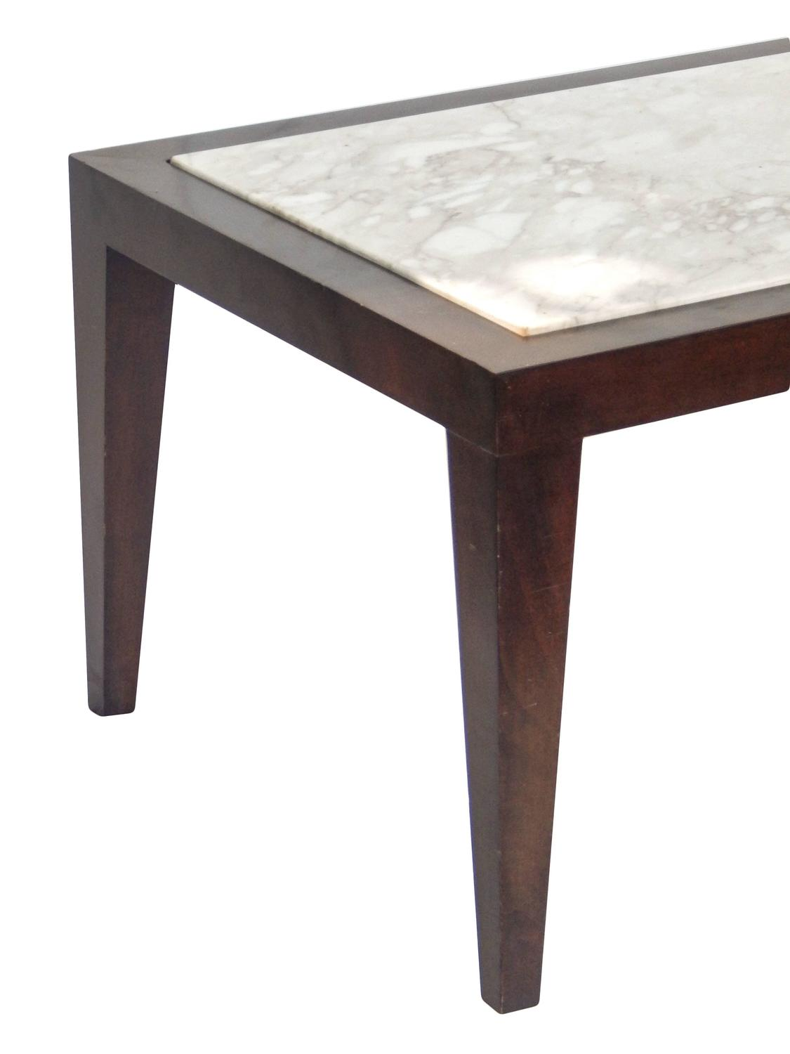 Harvey Probber Style Wood And Marble Coffee Table For Sale At 1stdibs