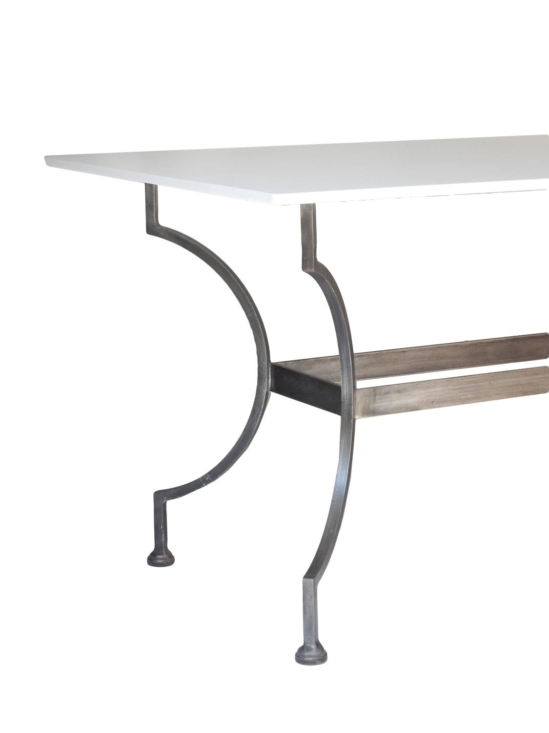 Handsome metal table with composite marble top at 1stdibs - Table composite aluminium ...