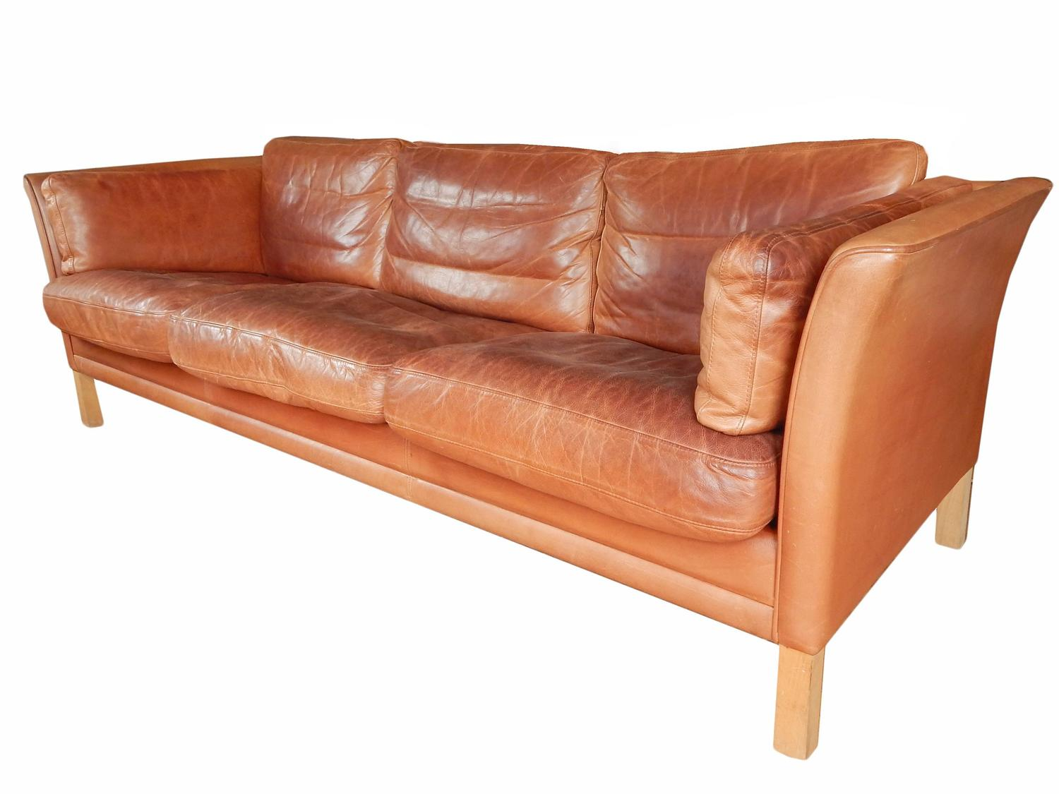 Danish Mid Century Leather Sofa For Sale At 1stdibs