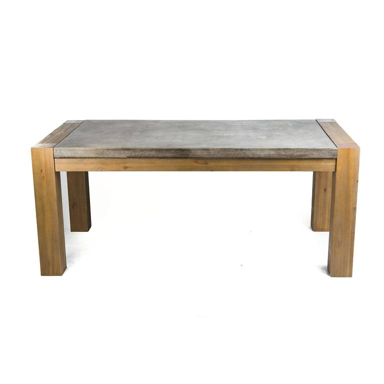 Sleek concrete and wood outdoor table for sale at 1stdibs for Sleek dining room tables