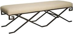 Metal and Linen Bench