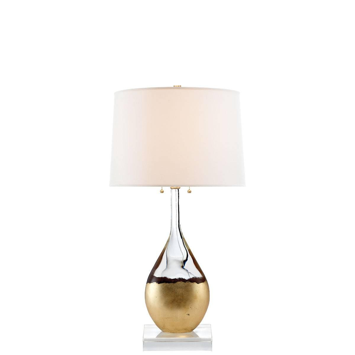 table lamp in crystal and gild with silk shade at 1stdibs. Black Bedroom Furniture Sets. Home Design Ideas