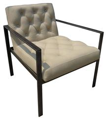 Tufted Linen and Metal Arm Chair