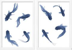 Blue Fish on a White Background