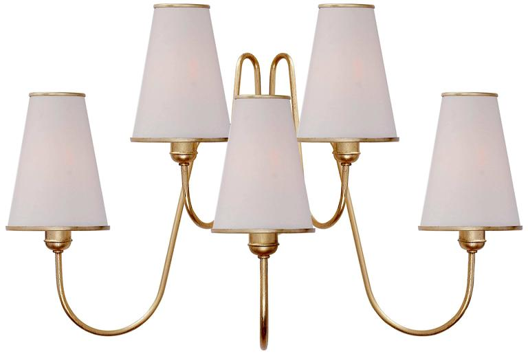 Wall Sconces With Linen Shades : Gilded Medium Wall Sconce with Linen Shades For Sale at 1stdibs