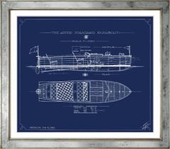 Blue Blueprint Boat Prints
