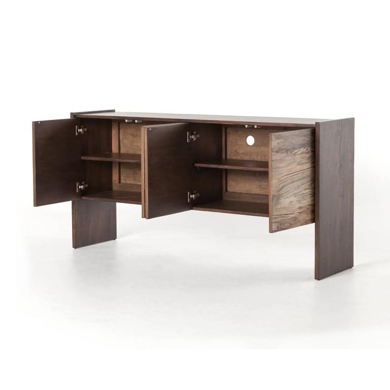 """Modern media sideboard, spalted primavera wood is supported by a contrasting frame of chocolate saman wood. Dimensions: W 65"""", H 32"""", D 15.75""""."""