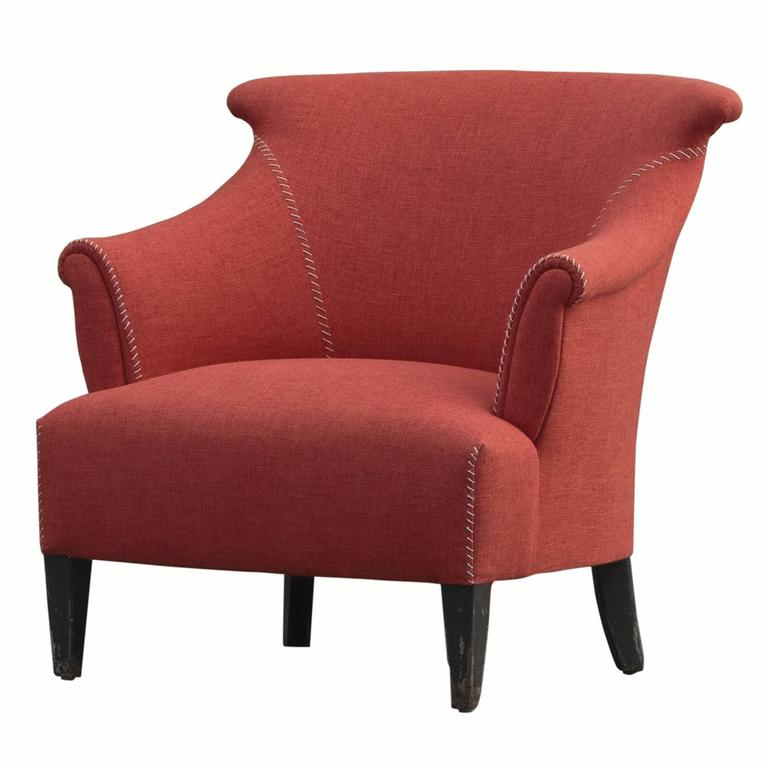 Upholstered Armchair in Orange For Sale