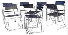Set of 10 Metal Dining Chairs