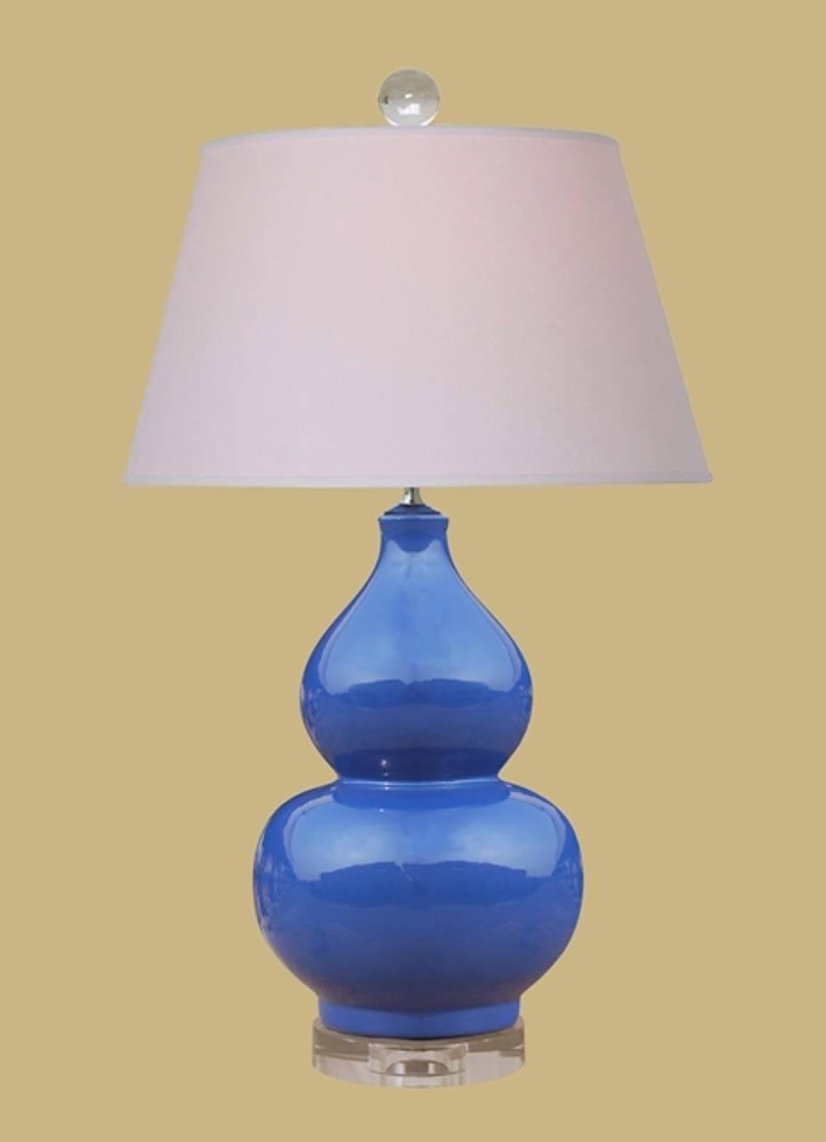 blue double gourd table lamp for sale at 1stdibs. Black Bedroom Furniture Sets. Home Design Ideas