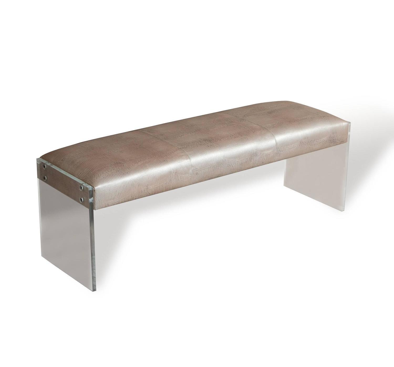 Leather And Acrylic Bench For Sale At 1stdibs