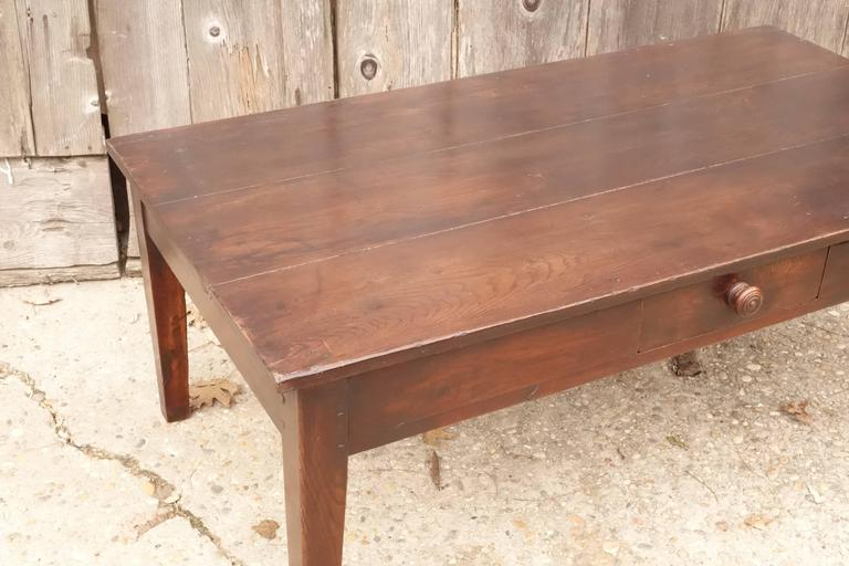 Vintage coffee table with single drawer, tapered legs. Fruitwood.