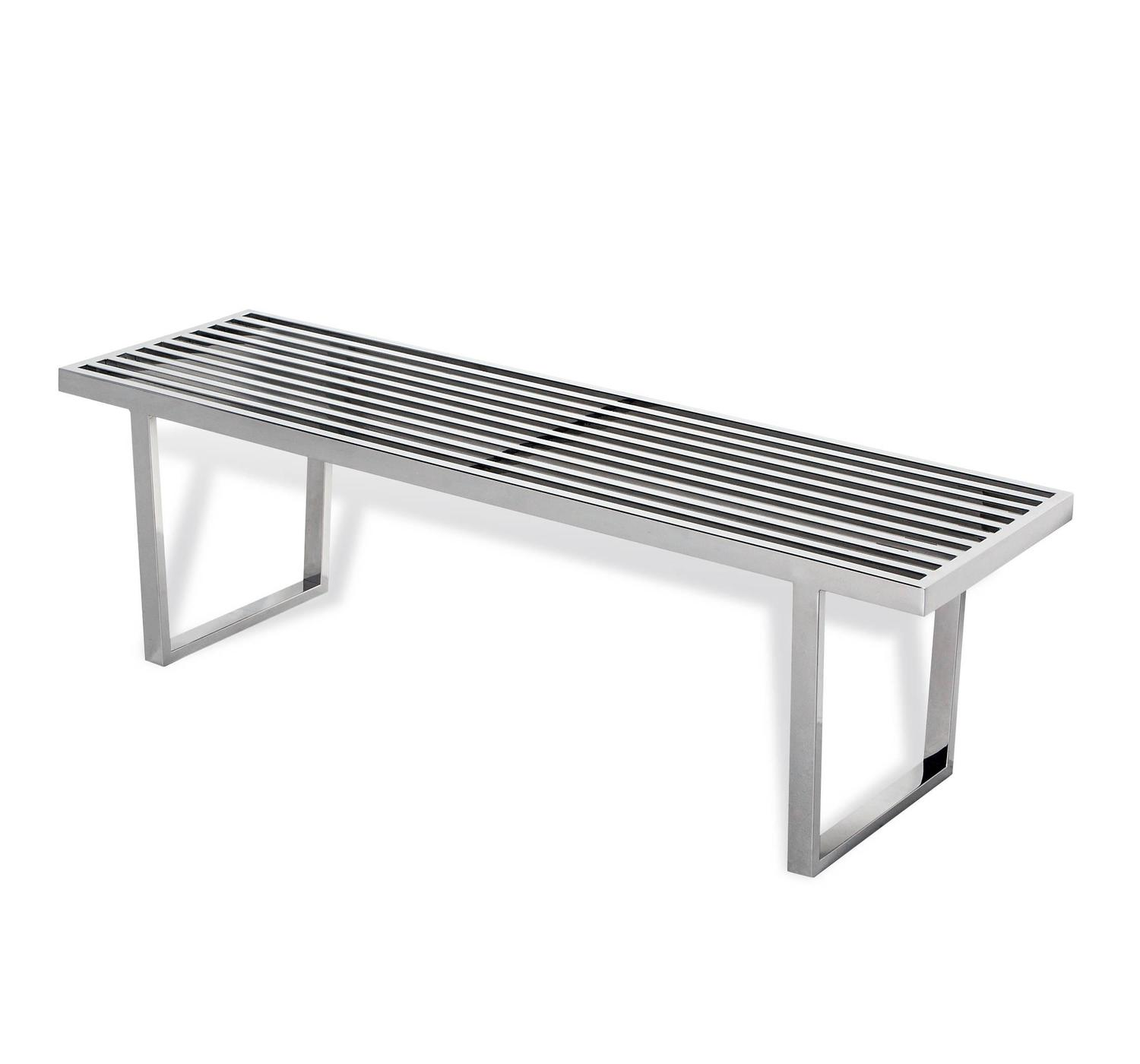 Stainless Steel Slat Bench For Sale At 1stdibs