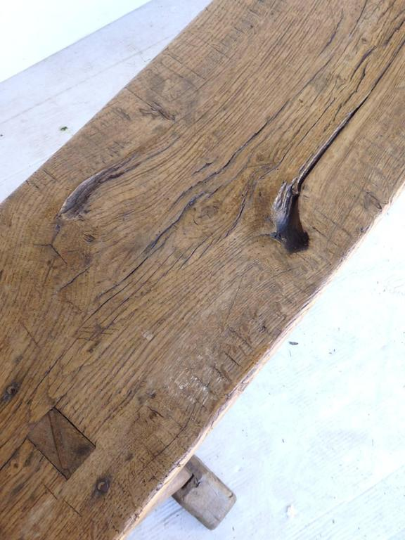 Long 19th Century Oak Bench In Good Condition For Sale In Bridgehampton, NY