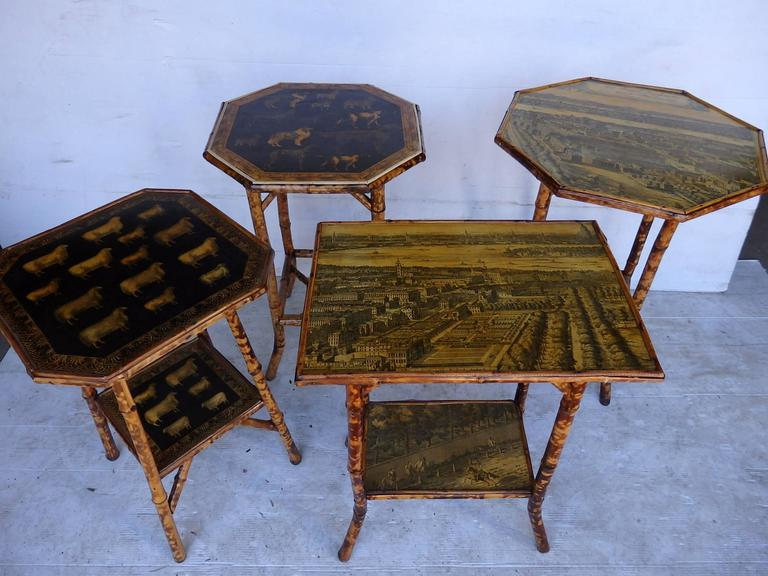 Latest collection of antique bamboo tables with later applied decoupage of animals and maps etc. variety of sizes and styles. Can locate sizes and designs to order. from $600 - $ 875 each.