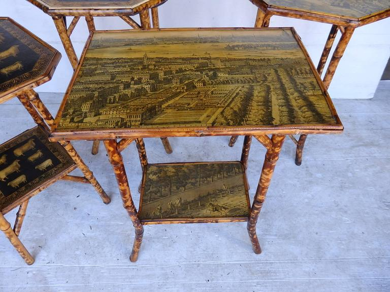 European Bamboo Tables with Decoupage For Sale