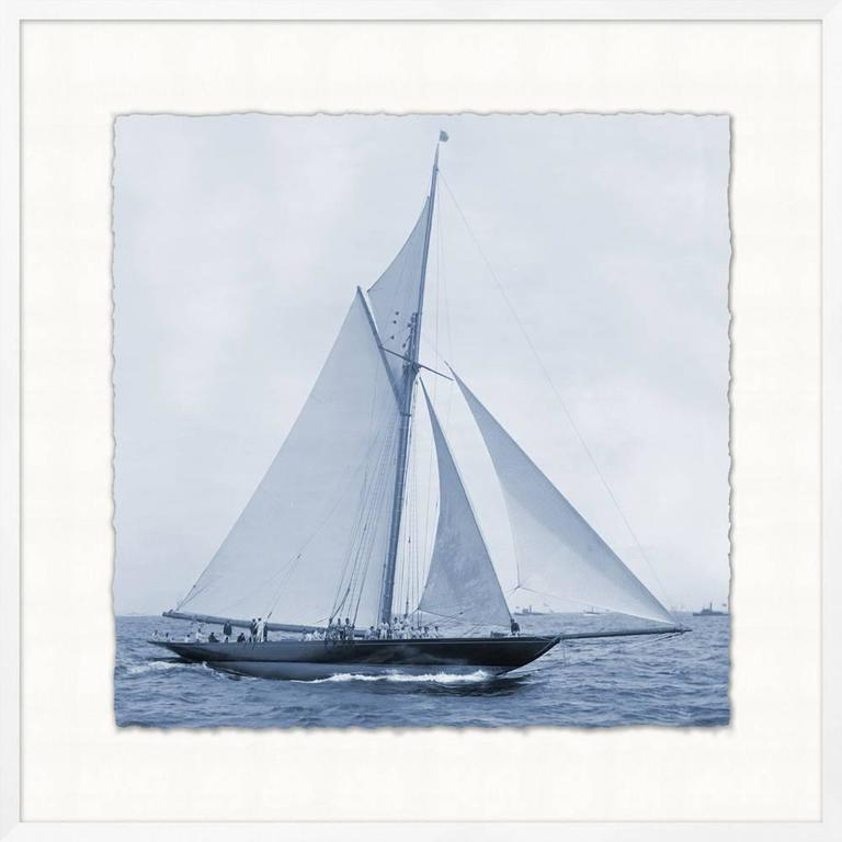 Collection of four prints of c1900 American Cups yachts. sold separately. 32 x 32 sq framed in white.