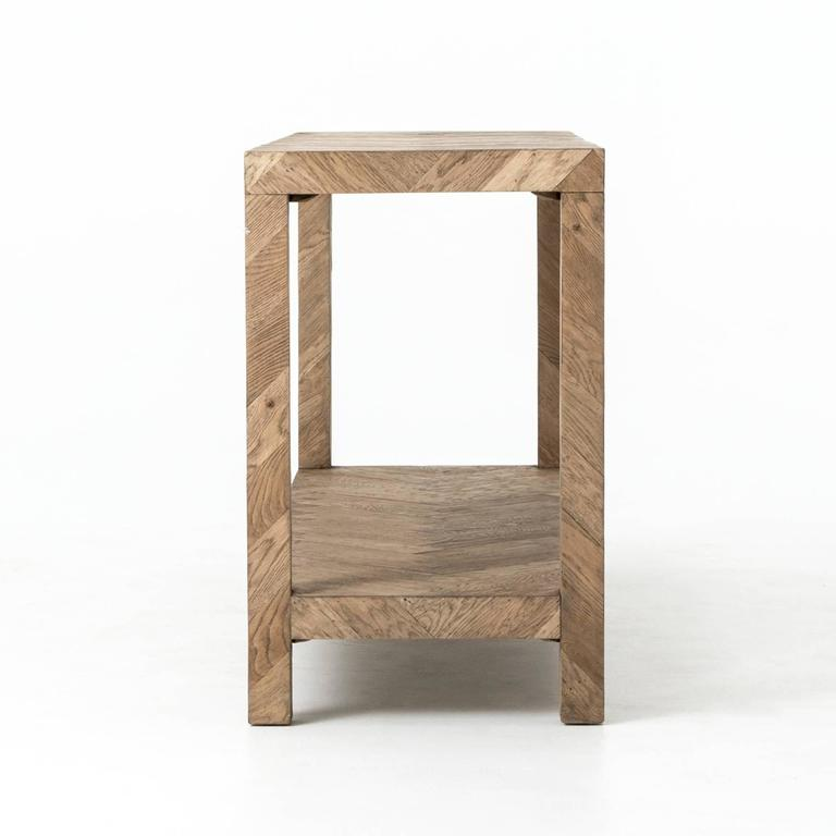 Parsons style console table in oak, with herringbone parquet pattern.